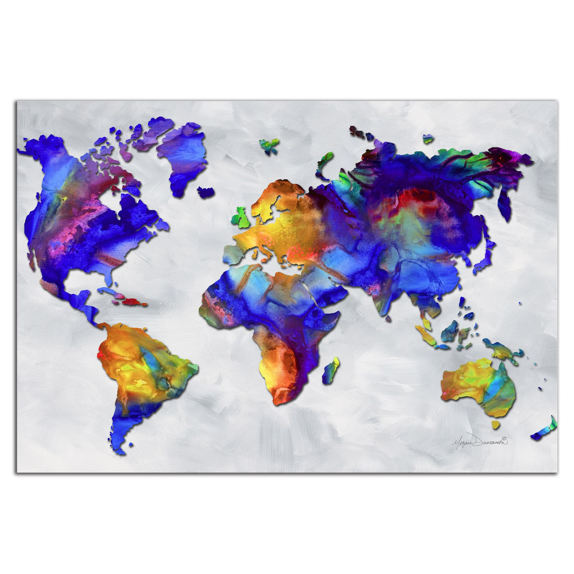 Colorful world map art beauty of color rainbow map artwork paintings for sale colorful world map art beauty of color rainbow map artwork abstract earth continents modern metal painting giclee by megan gumiabroncs Images
