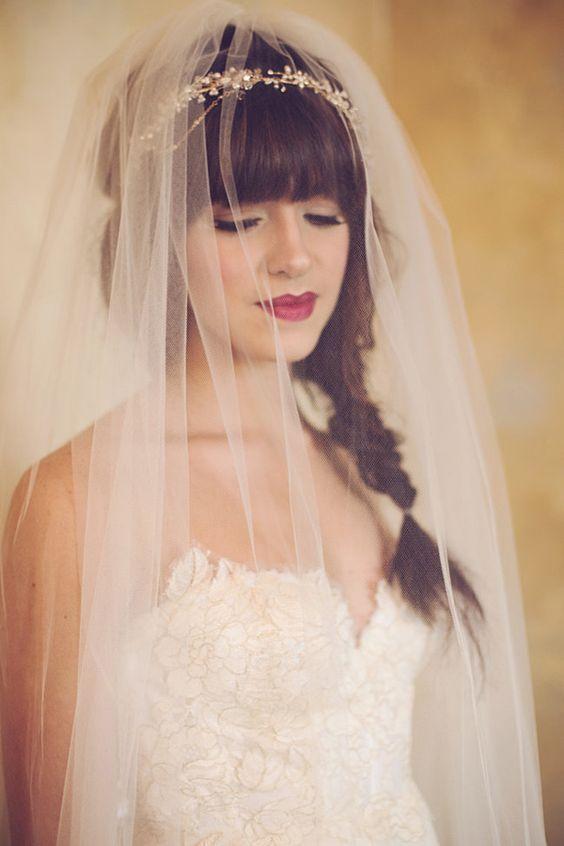 peinados de novia con velo trenza de espiga - Peinados De Novia Con Velo
