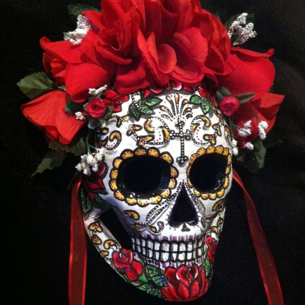 Sugar Skull Mask Day Of The Dead Dia De Los Muertos Red ...