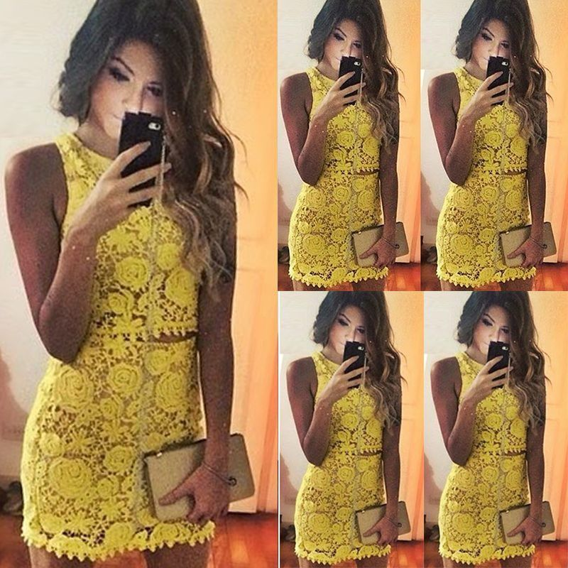 Womens Two Piece Set Floral Crochet Crop Top Skirt Ladies Bodycon Outfit Dress