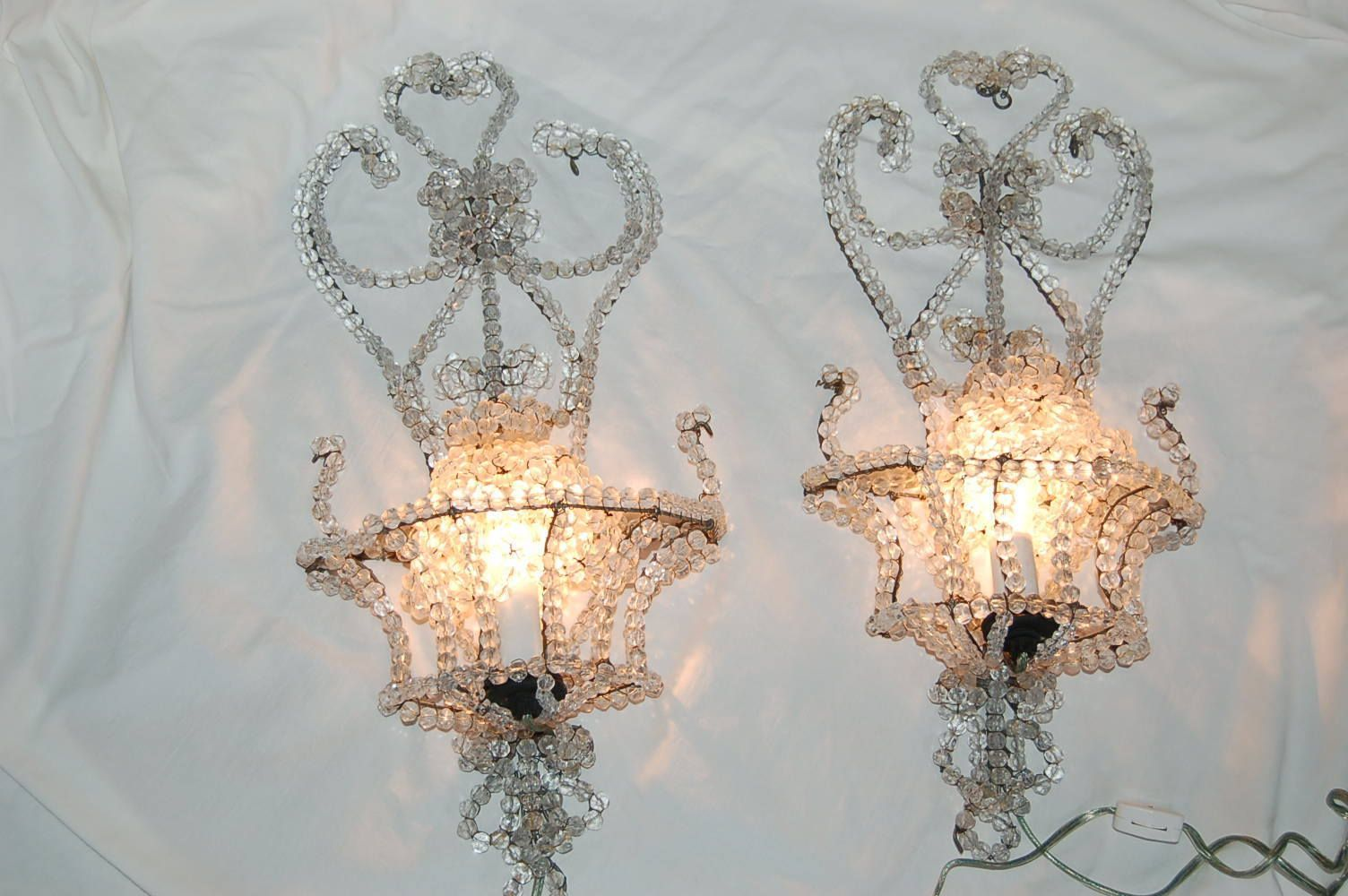 Vintage Pair Beaded Crystal Chandelier Sconces Bulb Covers 2die4 French Style
