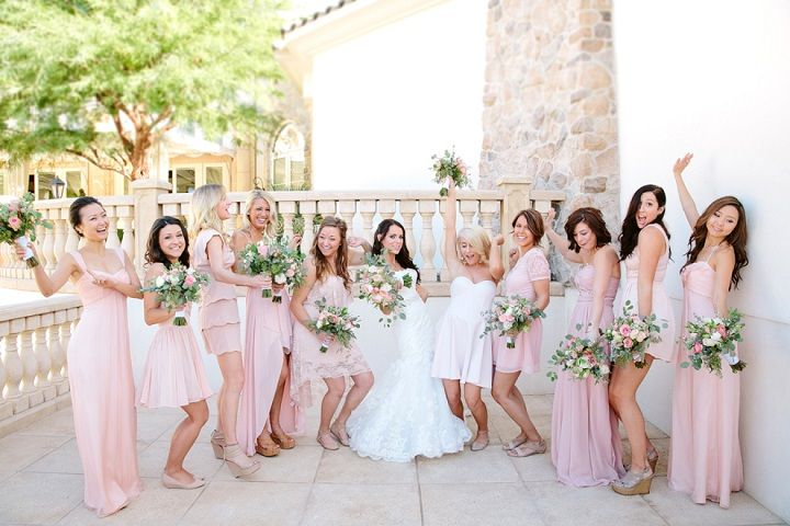 Pastel Bridesmaid Dresses Variations on a Theme | fabmood.com #wedding #blush #blushbridesmaids #pastel #bridesmaids