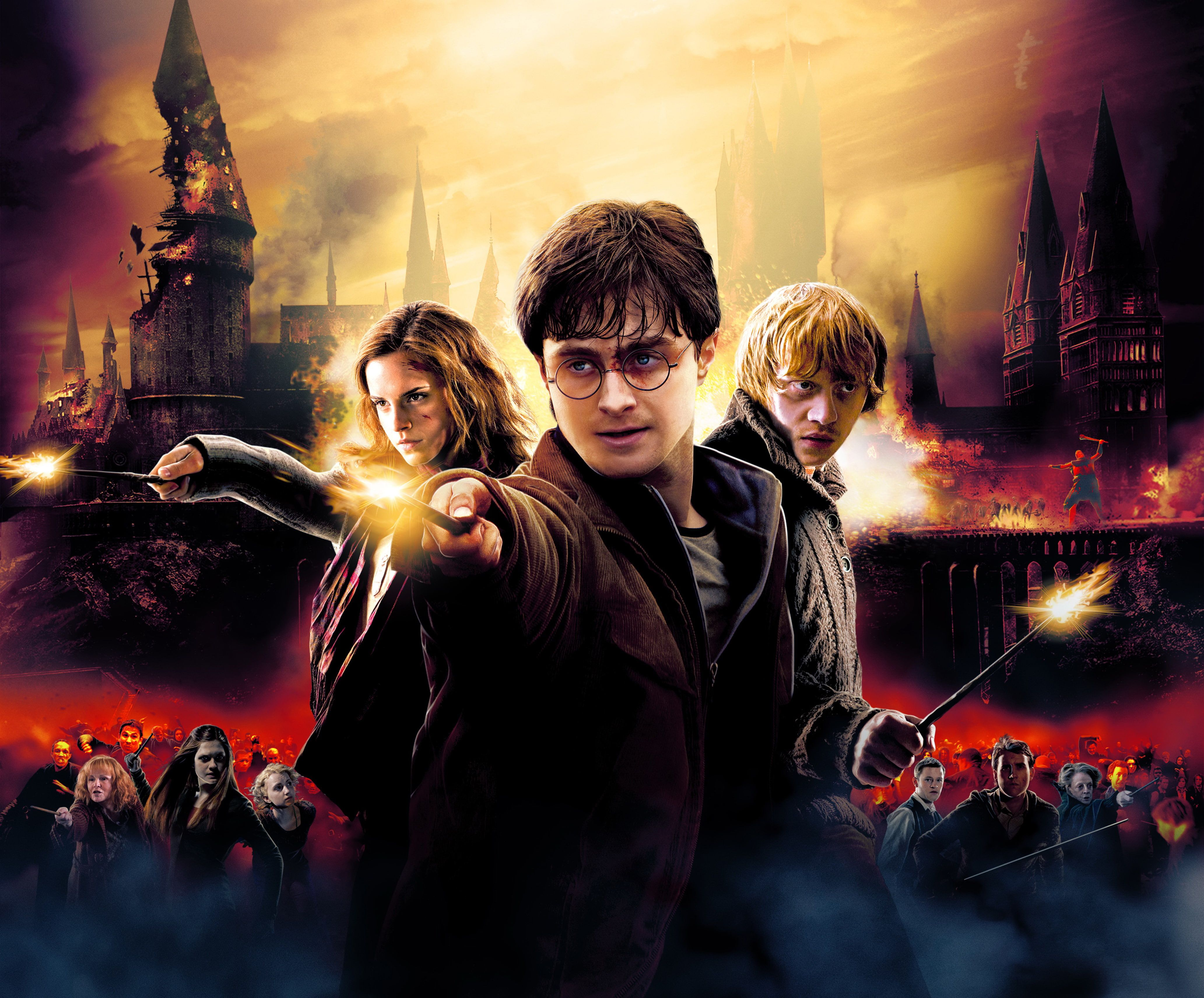 Harry Potter And The Deathly Hallows Emma Watson Ron Weasley Hermione Granger Rupert Harry Potter Illustration Deathly Hallows Wallpaper Beautiful Backgrounds