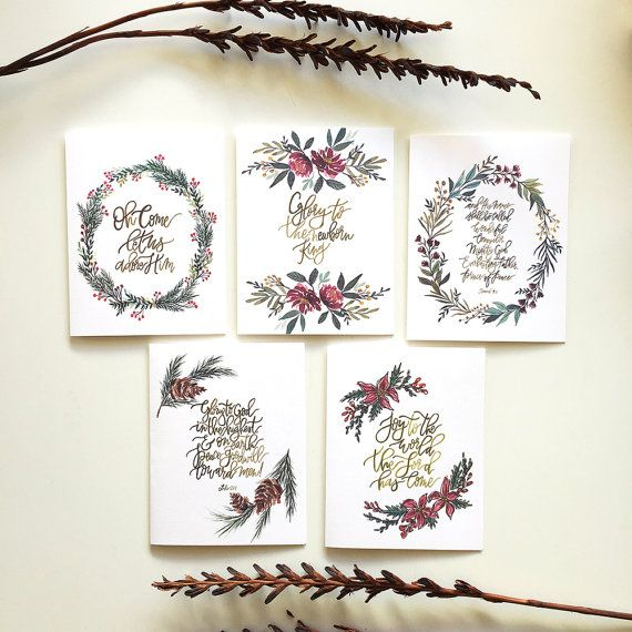 Christmas Greeting Cards- Watercolor and Hand Lettering Set of 5