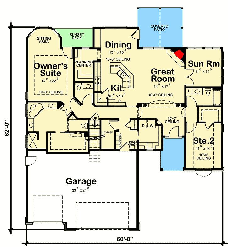 Plan 40898db Split Bedroom House Plan With Options Basement House Plans House Plans 2 Bedroom House Plans