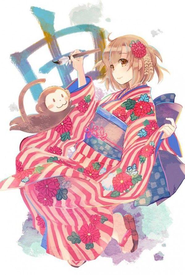 Dessin NouvelAn fille Kimono singe par naruse chisato Manga Vêtement