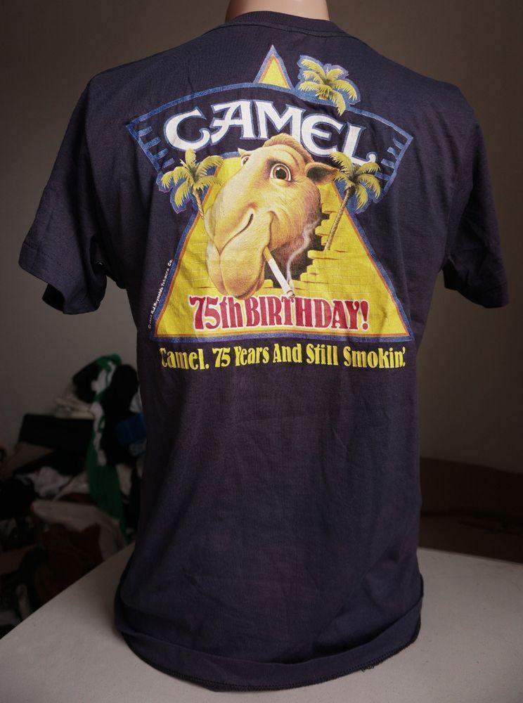 41136cbc85ef vintage joe camel cigarettes t shirt  80s 75th birthday screen stars usa  smokes from  34.99