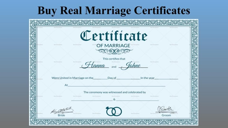 Buy Real Marriage Certificates Without Any Hassle Marriage