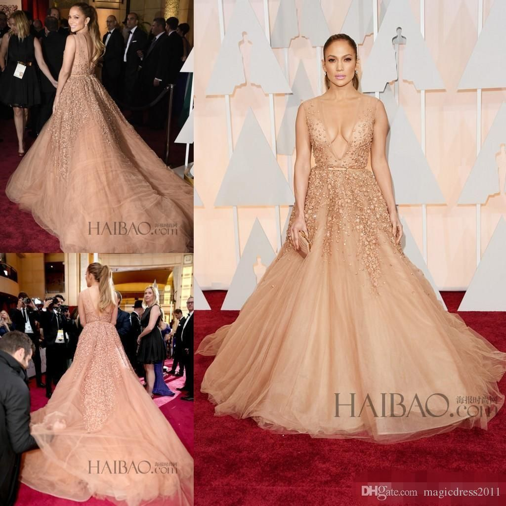 Stunning 2016 V Neck Jennifer Lopez Celebrity Elie Saab Evening ...