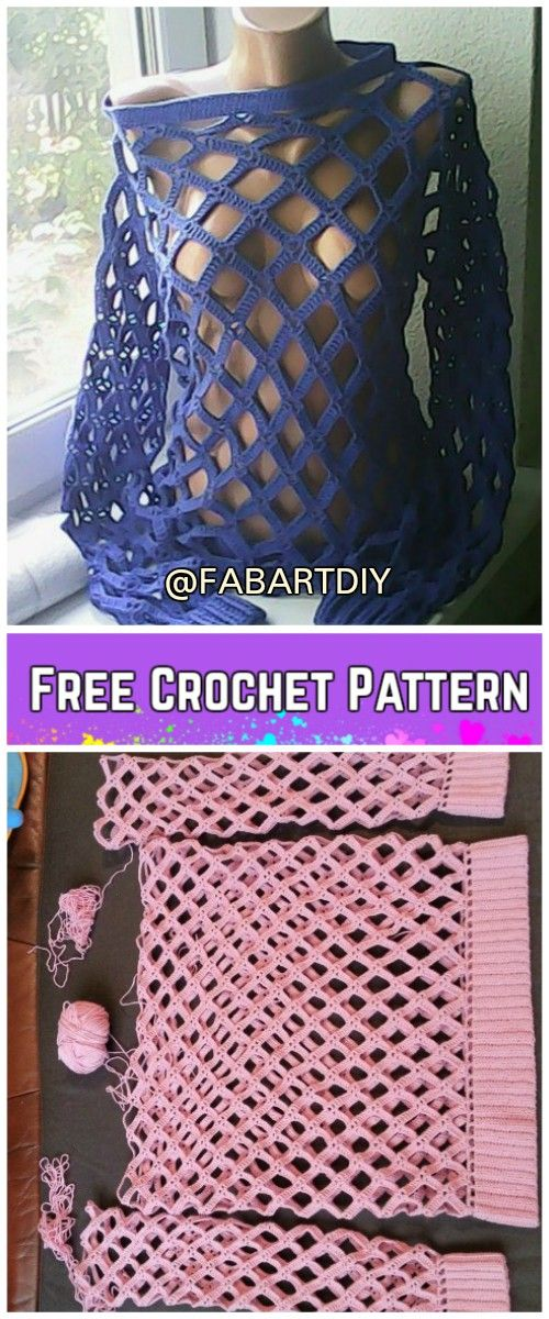 Crochet Off Shoulder Net Spring Sweater Free Pattern (Video ...