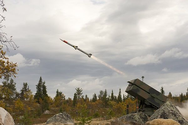 An AMRAAM AIM-120C7 missile is fired from a NASAMS High Mobility Launcher during the Thor's Hammer international firing exercises in Sweden last year.