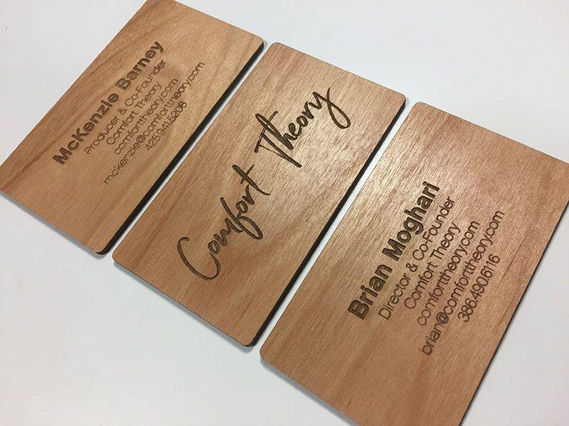 Laser Engraved Business Cards On Wood Metal Plastic Starting At 1 30 Wooden Business Card Laser Engraved Business Cards Wood Business Cards