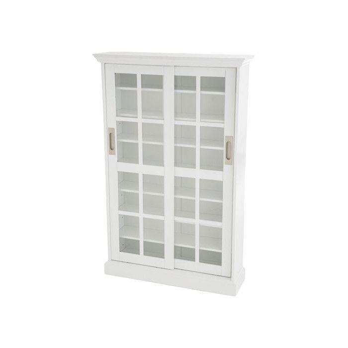 Wildon Home ® Constance Sliding Door Multimedia Cabinet in White   AllModern