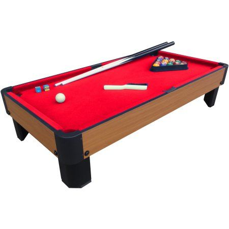 "Playcraft Sport Bank Shot 40"" Pool Table with Red Cloth - Walmart.com"