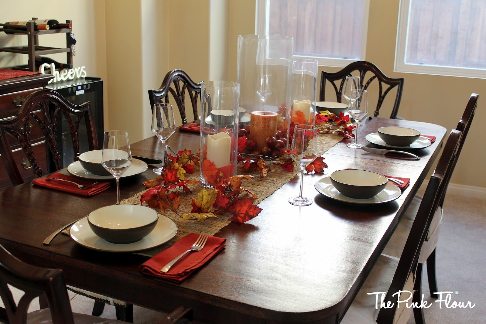 Tabletop Decorations In An Orange Dining Room Google Search