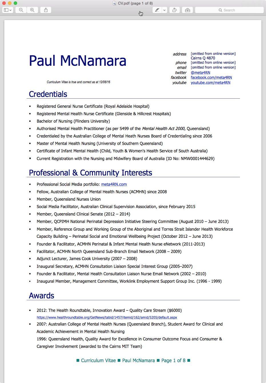 Nursing Resume Examples Australia