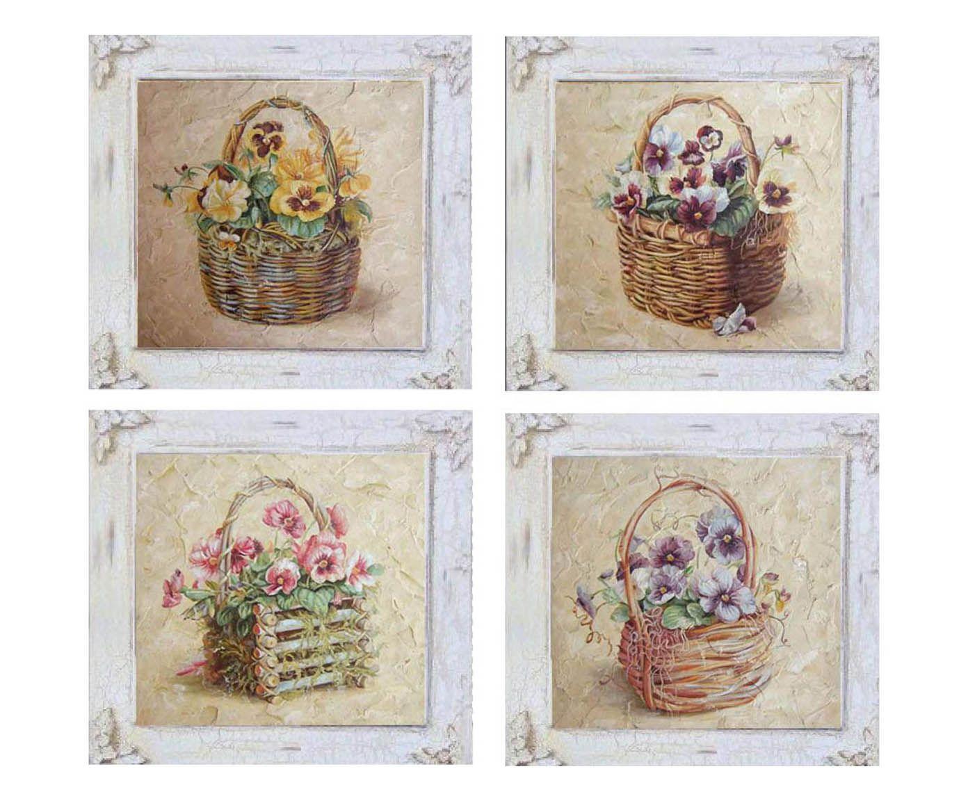 Set Di 4 Quadri In Legno Flower Assortiti 38x38x8 Cm Dalani Home