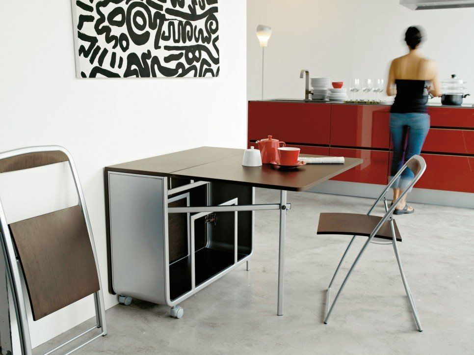 Furniture Modern Portable Folding Dining Table With Wheels