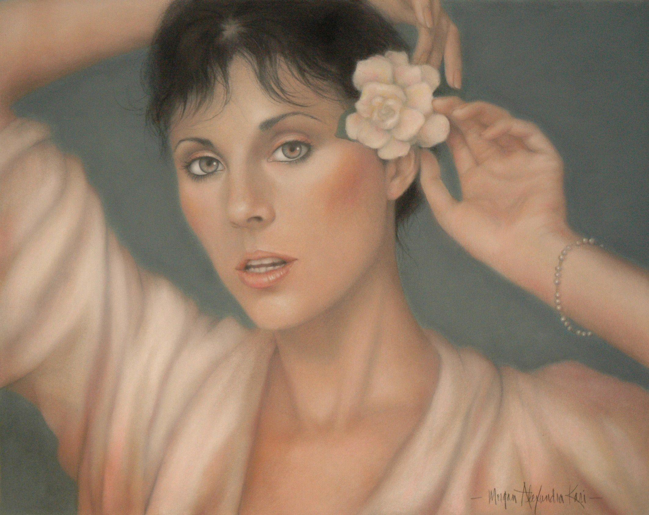 """PORTRAIT OF KAT by Morgan Alexandra Kari / framed original 18"""" x 24"""" Pastel and Pastel pencils on Canson Mi-Tientes Sky Blue paper / portrait commissions in Pastel available"""