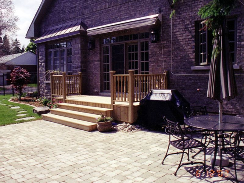 Decks And Patios Pictures | Cedar Wood Deck, Interlocking Stone Patio And  Stepping Stones