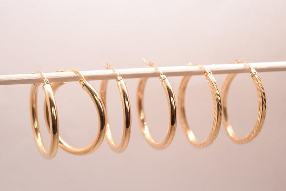 10k Gold Hoop Earrings Plain Hoops Textured Hypoallergenic Sensitive Ears Secur