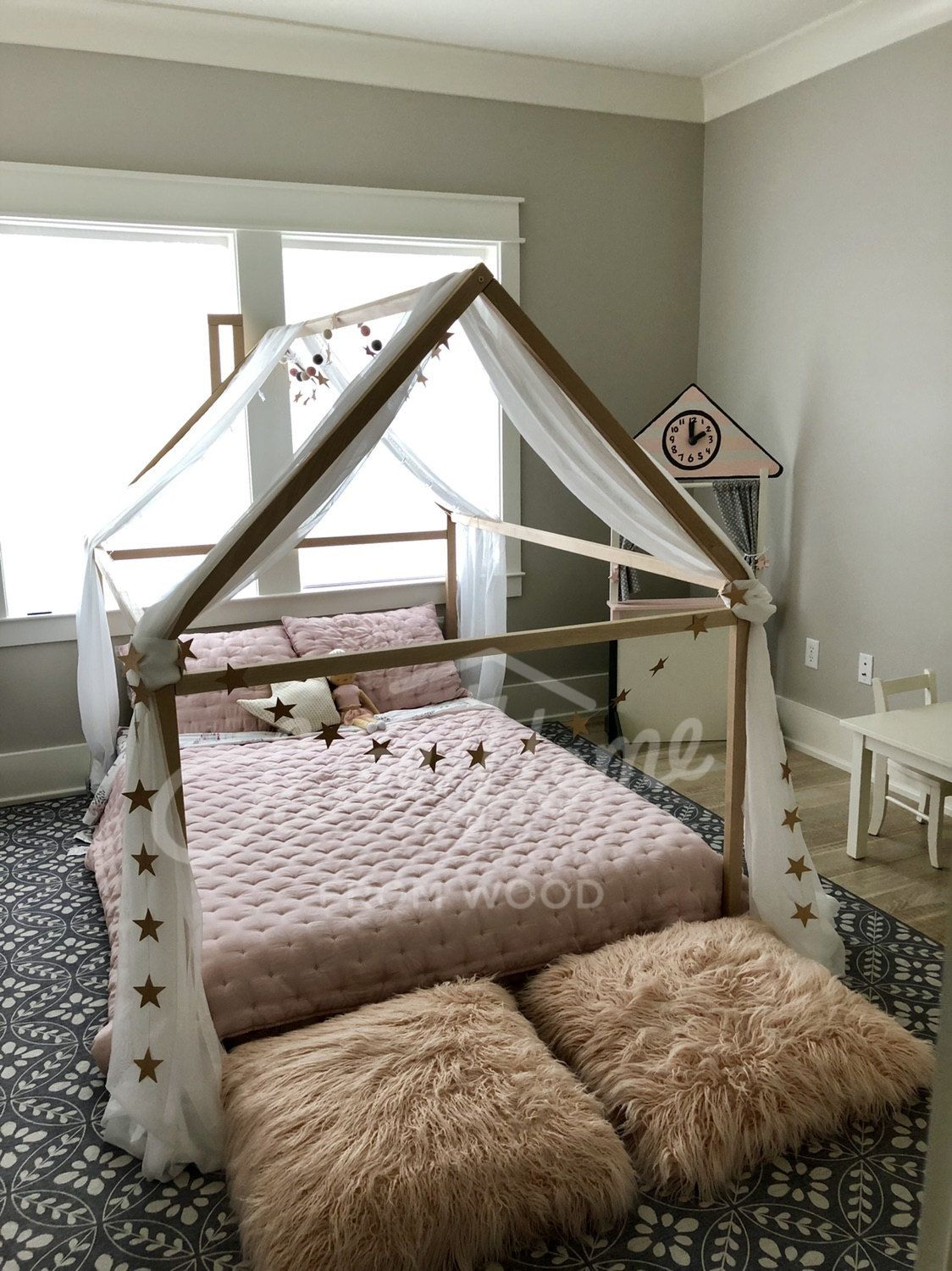 Montessori Toddler Beds Frame Bed House Bed House Wood House Kids Teepee Baby Bed Nursery Bed Platform Bed Children