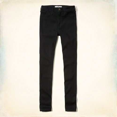 High rise waist with super skinny leg, zip fly with button closure, rich black wash, signature back pocket embroidery, Imported<br><br>64% cotton / 17% viscose / 17% polyester / 2% elastane