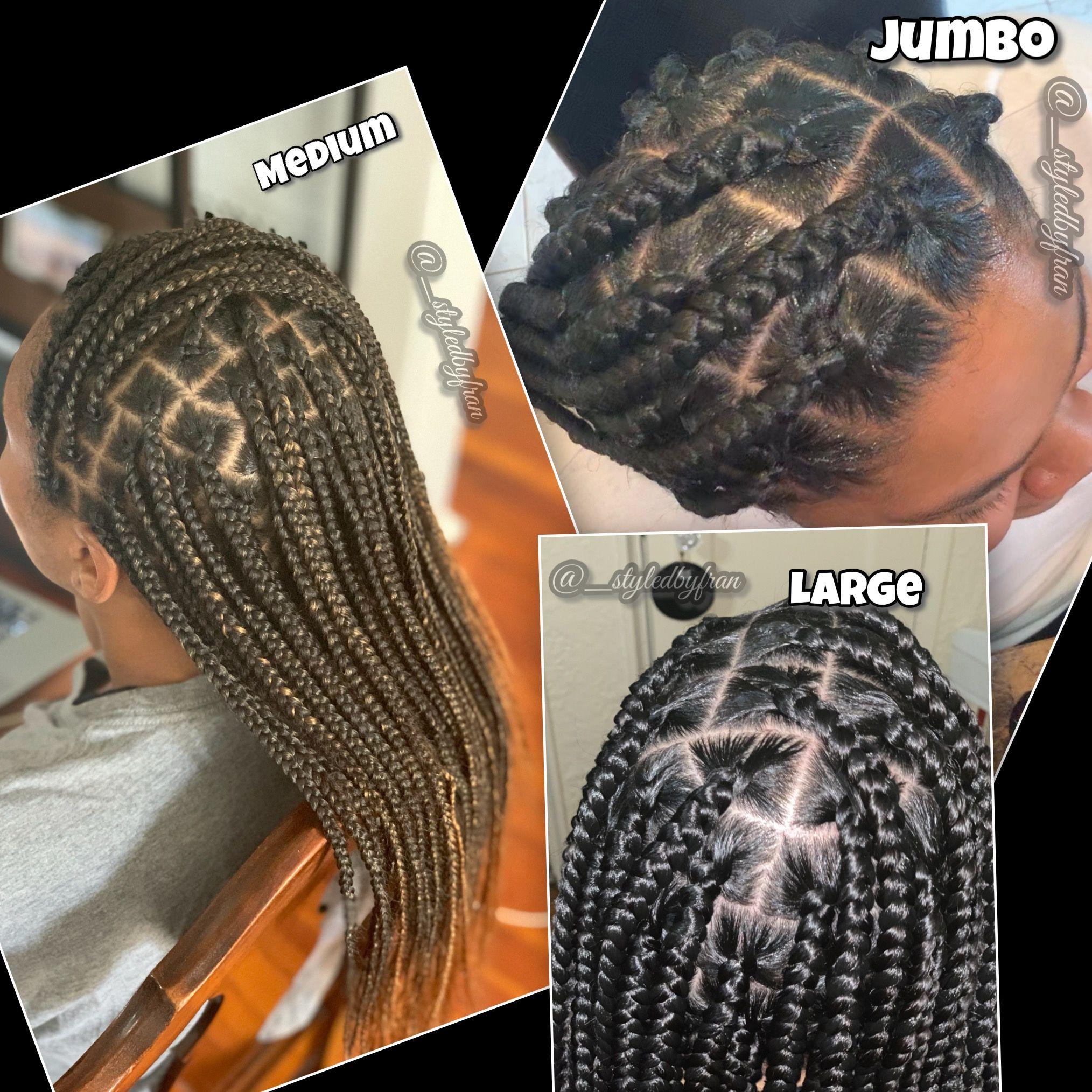 Knotless Box Braid Sizes Knotlessbraids Boxbraids Sizechart Knotless Braids Westchester And B Box Braids Sizes Girls Hairstyles Braids Natural Hair Styles