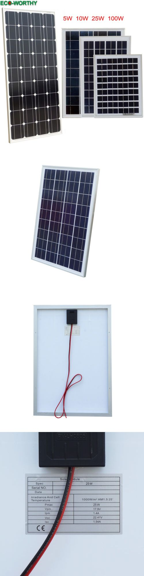 Alternative And Solar Energy 41979 Eco 5w 10w 25w 100w Watts Solar Panel 12v Off Grid Battery Charger For Rv Boat Buy It Now Only 35 14 Solar Panels Solar