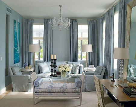 Blue Elegant Living Room Design With Blue Silk Drapes, Blue Upholstered  Sofa, Blue Chairs