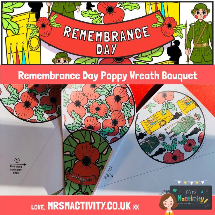 Remembrance Day Poppy Wreath Bouquet Paper Craft | Mrs Mactivity