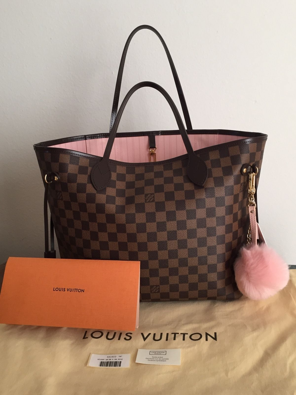 Authentic Louis Vuitton Neverfull Mm Damier Ebene Rose Ballerine Handbag Tote 1100 0