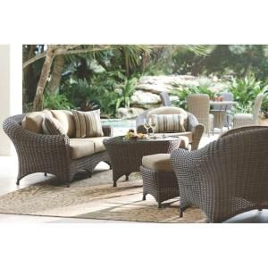 Martha Living Lake Adela Weathered Gray 6 Piece Patio Seating Set With Sand Cushions