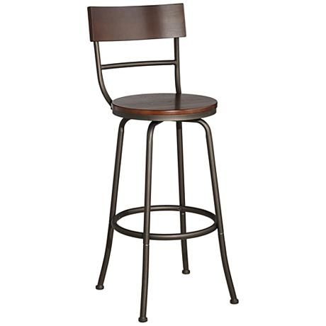 langdon 29 wood and bronze metal swivel bar stool 4v963 lamps plus barstool ideas. Black Bedroom Furniture Sets. Home Design Ideas