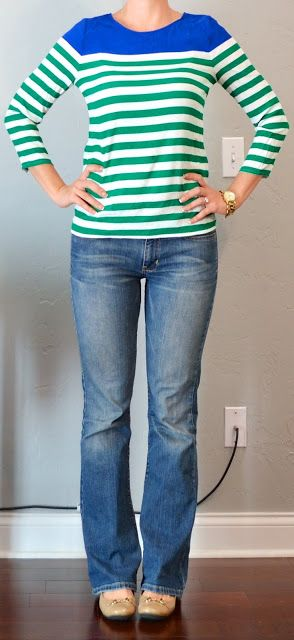 Outfit Posts: outfit post: green & blue striped shirt, bootcut jeans, nude flats