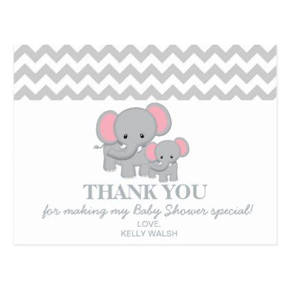Elephant baby shower thank you note chevron postcard elephant baby elephant baby shower thank you note chevron postcard negle Gallery