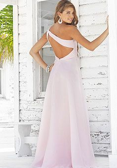 b50634307a651 a-line pink chiffon beaded one shoulder empire pleated prom dress picture 2