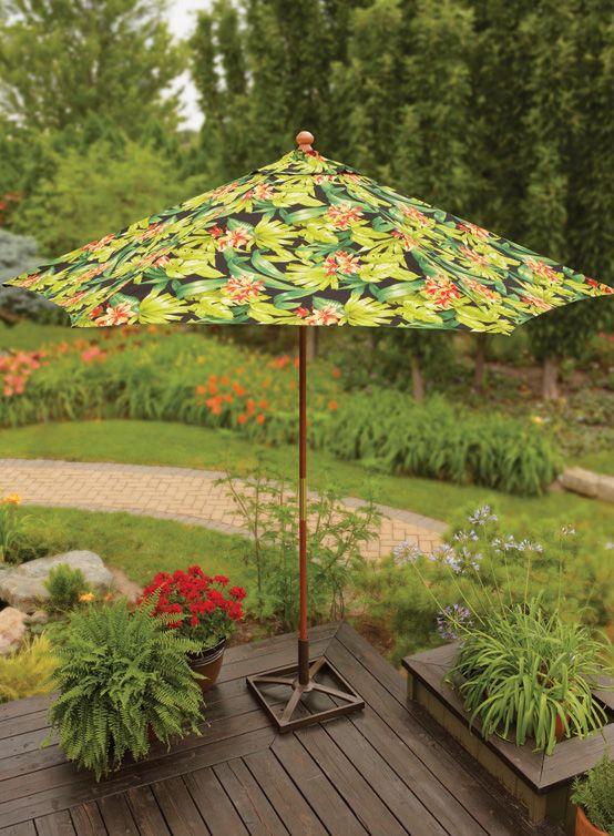 raise this black tropical umbrella
