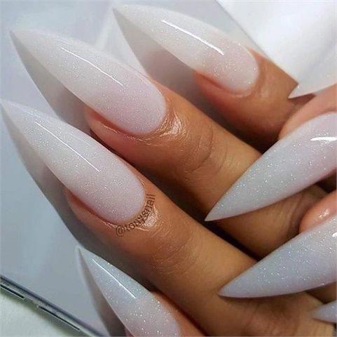 winter white nails for the winter solstice stilettonail