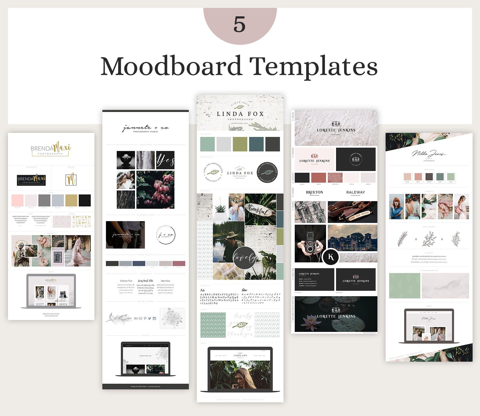 Mood Board Template Bundle Vol 1 Mood Board Template Brand Board Template Branding Template