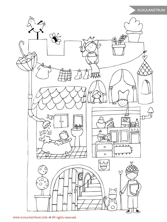 Dibujo castillo XuxuLanstrum para colorear. | Dibuixos per pintar ...