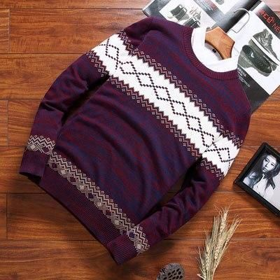 Hot Men Sweater Fashion Outwear Male Pullover Sweaters Casual O-Neck Knitted Rhombusheavengifs