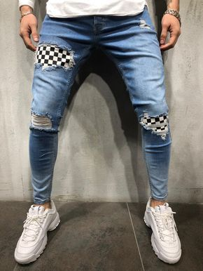 Ripped Jeans Checkered Patches Blue Streetwear Jeans Hipster Mens Fashion Mens Fashion Smart