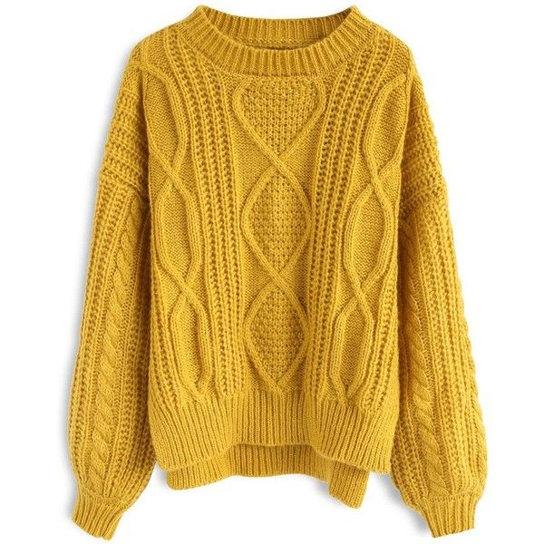 8dc000edf4 Chicwish Cozy Everyday Cable Knit Sweater in Mustard ( 52) ❤ liked on  Polyvore featuring tops