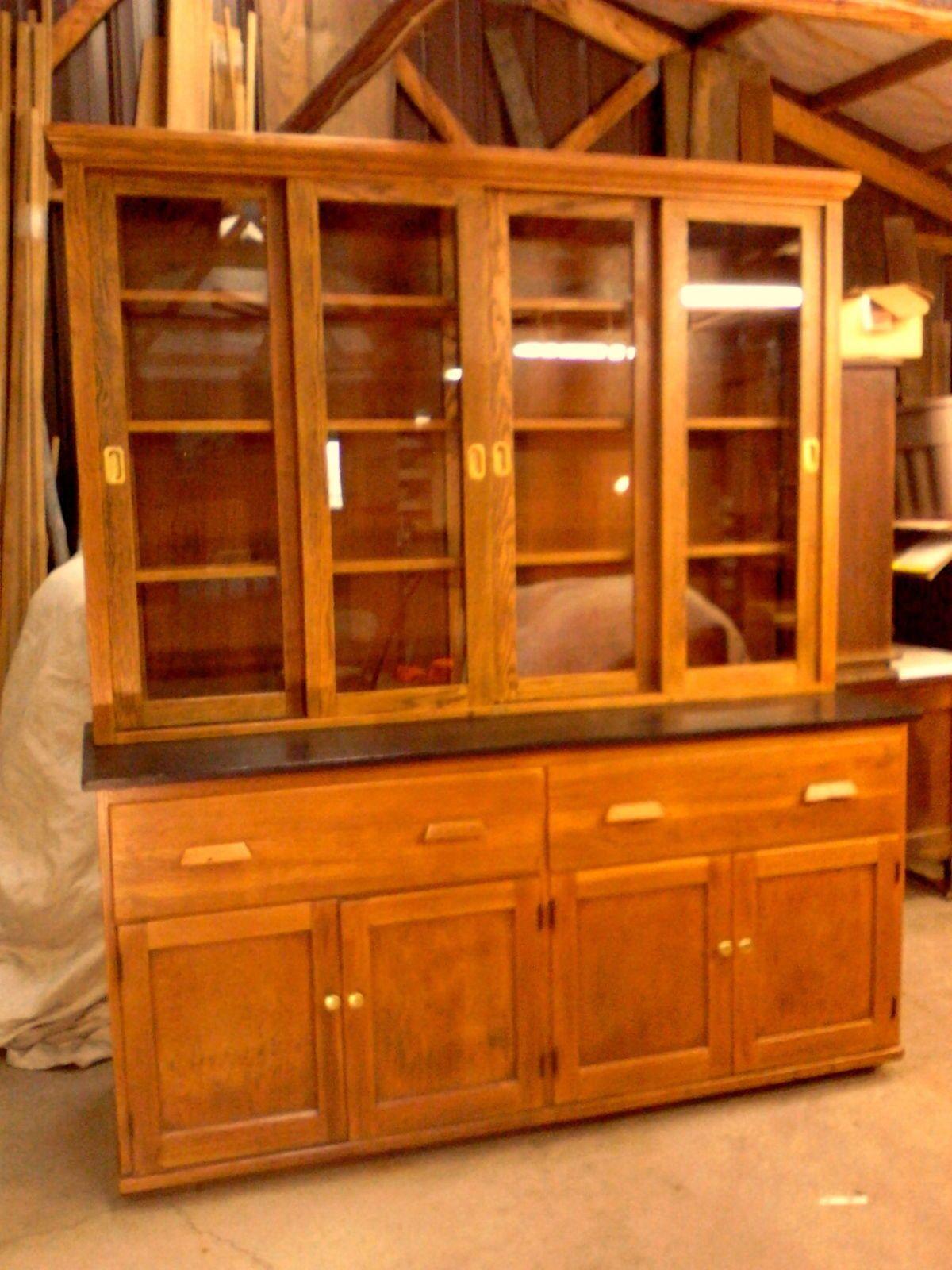 Antique arts and crafts furniture - Antique Oak School Science Lab Cabinet Kitchen Display Bookcase Circa 1920