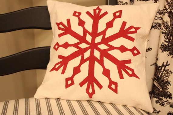 Canvas Holiday Snowflake Pillow Cover- Christmas Pillow - Stencil Pillow - Snowflake - Handmade on Etsy, $18.00
