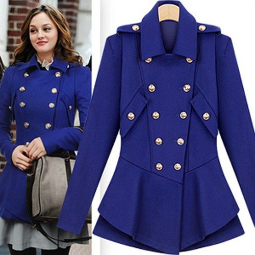 Celebrity Style Stylish Double Breasted Royal Blue Coat. Chic ...