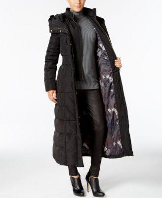 432b7458897 Cole Haan Signature Hooded Down Maxi Puffer Coat - Black XXL