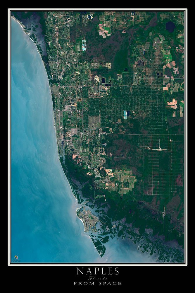 Naples Florida Satellite Poster Map Naples Florida Naples And Earth - Satellite maps florida