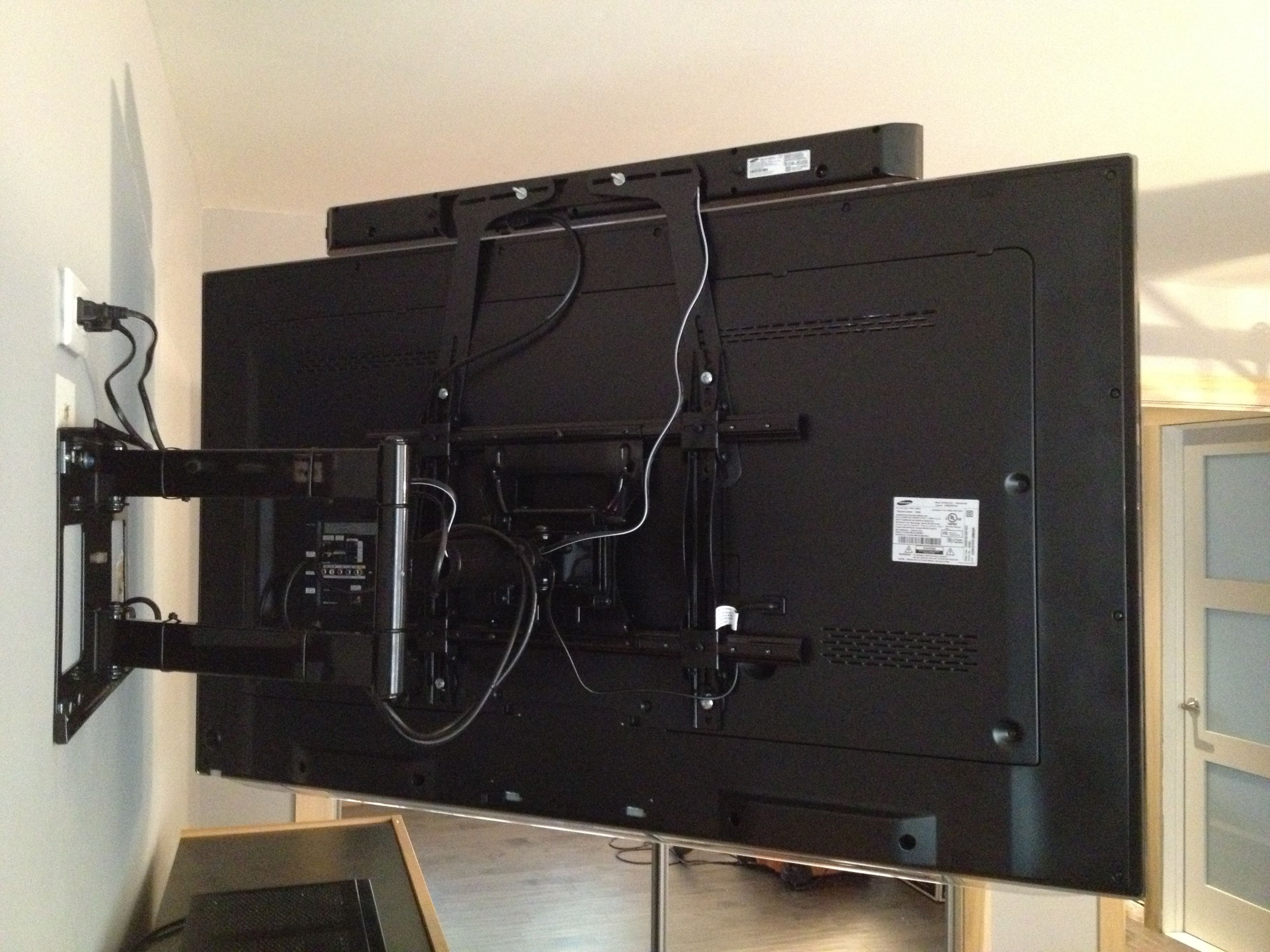 Sound Bar Installed To The Tv With Brackets Attached Back Of Articulating Bracket For Allows Point At